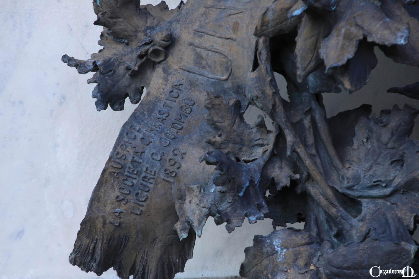 Particolare della corona a destra - Auspice la Società ginnastica ligure C. Colombo 1892