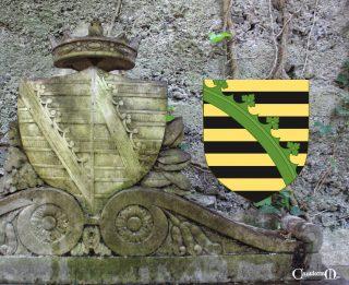 Lo stemma della Duchessa sulla tomba e quello della casata di Wettin